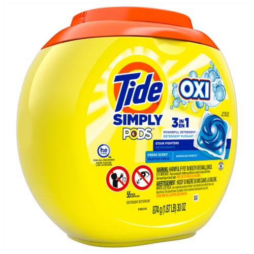 Tide Simply OXI 3 in 1 Fresh Scent Liquid Laundry Detergent Pods Perspective: front