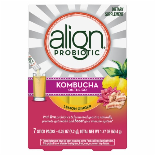 Align Kombucha On-the-Go Lemon Ginger Probiotic Drink Mix Perspective: front