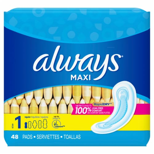 Always® Maxi Unscented Regular Size 1 Pads Perspective: front