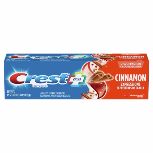 Crest Plus Complete + Whitening Cinnamon Rush Anticavity Fluoride Toothpaste Perspective: front