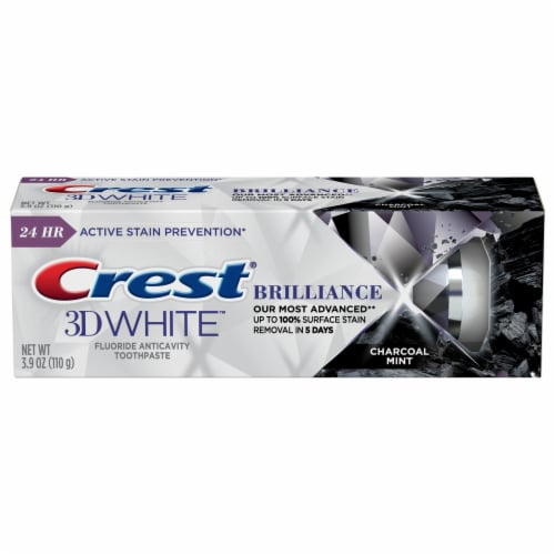Crest 3D White Brilliance Charcoal Mint Fluoride Toothpaste Perspective: front