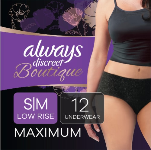 Always Discreet Boutique Maximum Small/Medium Low Rise Women's Incontinence Underwear Perspective: front