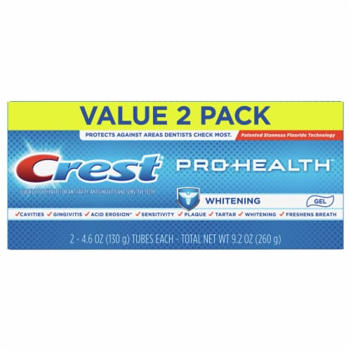 Crest Pro-Health Toothpaste Teeth Whitening Gel Paste Twin Pack Perspective: front
