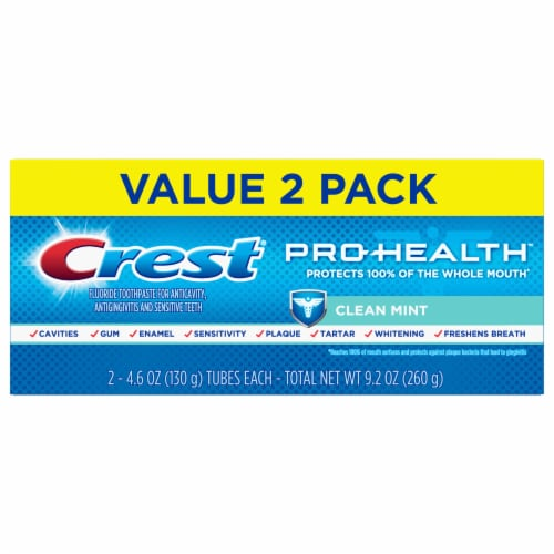 Crest Pro-Health Toothpaste Smooth Formula Clean Mint Paste Twin Pack Perspective: front