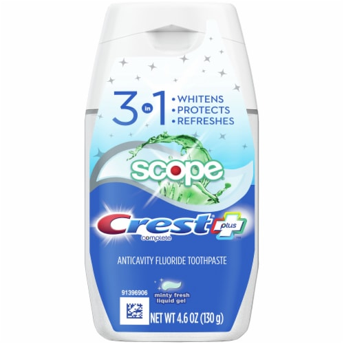 Crest Plus Scope 3 in 1 Minty Fresh Flouride Toothpaste Perspective: front