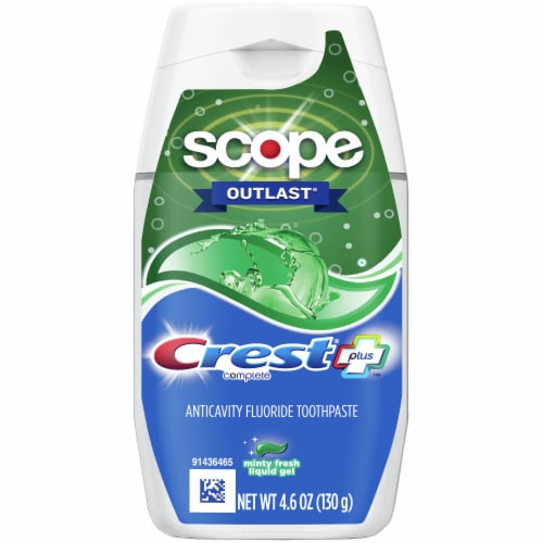 Crest Complete Scope Outlast Minty Fresh Liquid Gel Toothpaste Perspective: front