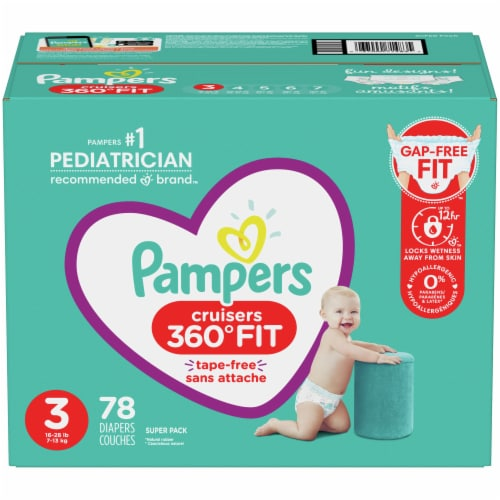 Pampers Cruisers 360 Fit Size 3 Baby Diapers Perspective: front