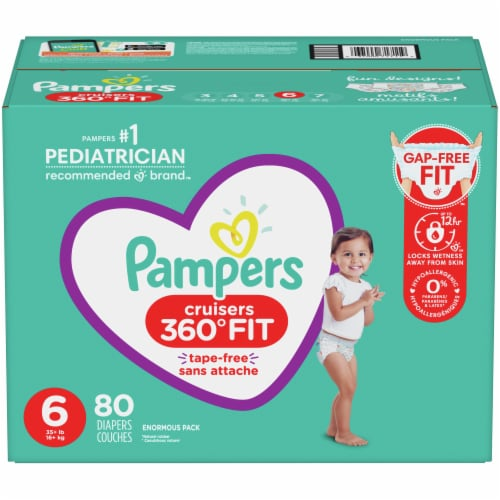 Pampers Cruisers 360 Fit Size 6 Baby Diapers Perspective: front