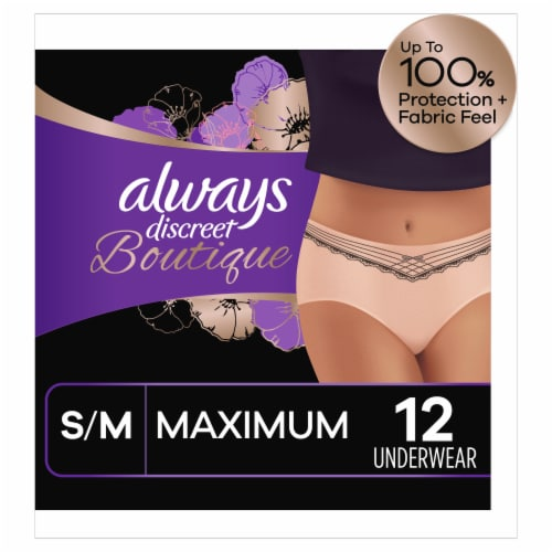 Always Discreet Boutique Maximum Protection S/M Incontinence Underwear for Women Perspective: front