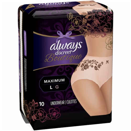Always Discreet Boutique Maximum Protection Large Incontinence Underwear for Women 10 Count Perspective: front