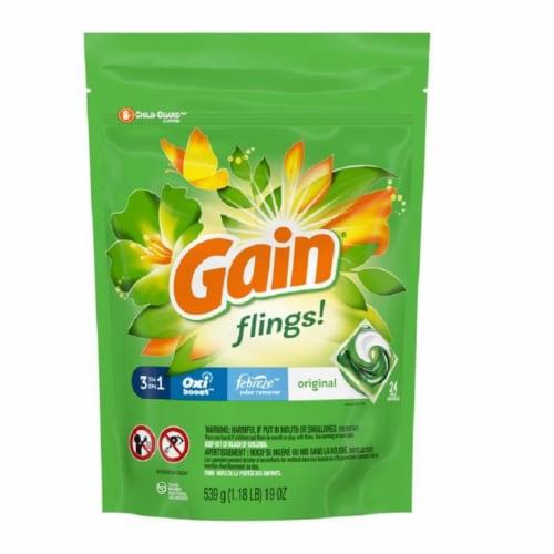Gain  Fling!  Original Scent Laundry Detergent  Pod  19 oz. 24 pk - Case Of: 4; Perspective: front