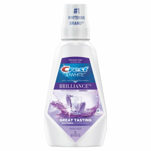 Crest 3D White Brilliance Advanced Whitening Clean Mint Mouthwash Perspective: front