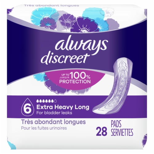 Always Discreet Incontinence Pads for Women Extra Heavy Absorbency Long Length Perspective: front