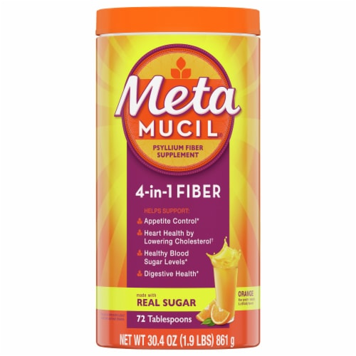 Metamucil Orange Flavor Fiber Supplement Powder Perspective: front