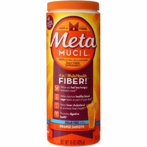 Metamucil Sugar-Free 4-in-1 Orange Flavor Smooth Daily Fiber Supplement Perspective: front