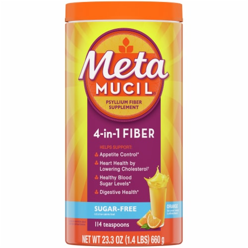 Metamucil Sugar Free Orange Smooth Fiber Supplement Powder Perspective: front