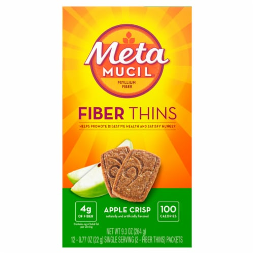 Metamucil Fiber Thins Apple Crisp Wafer Packets Perspective: front