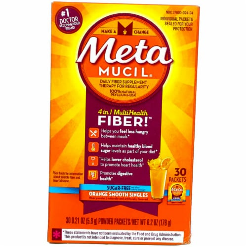 Metamucil 4-in-1 Orange Flavor Fiber Supplement Packets Perspective: front