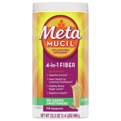 Metamucil 4-in-1 Psyllium Fiber Supplement No Added Sweeteners Unflavored Coarse Texture Powder Perspective: front