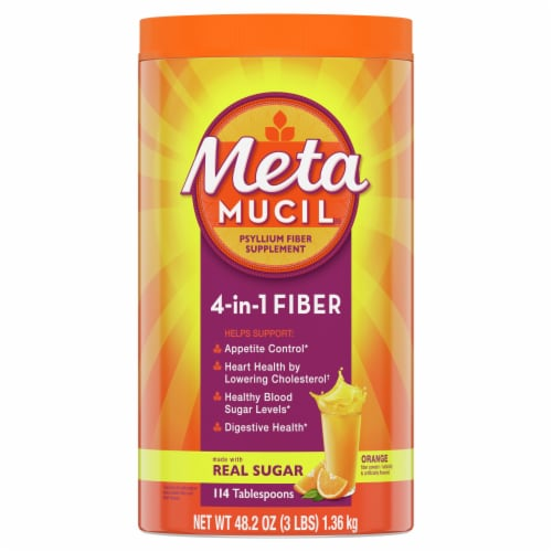 Metamucil Orange Smooth Fiber Supplement Powder Perspective: front