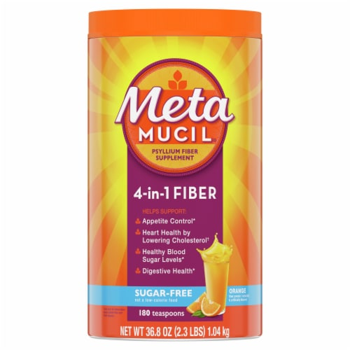 Metamucil Sugar-Free 4-in-1 Orange Daily Fiber Supplement Perspective: front
