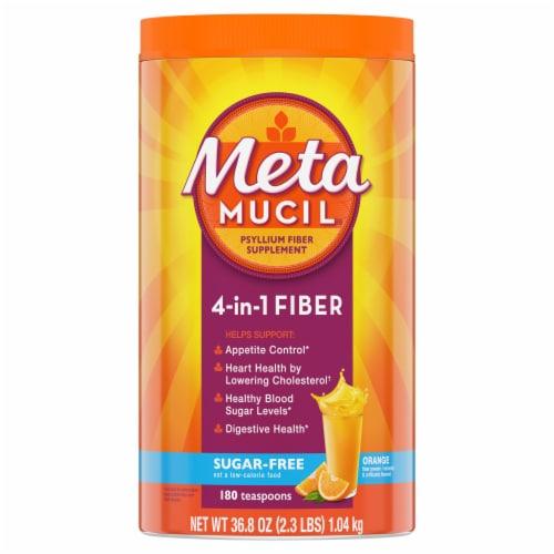 Metamucil Sugar Free Orange Daily 4-in-1 Fiber Supplement Perspective: front