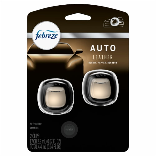Febreze AUTO Leather Air Freshener Vent Clips Perspective: front