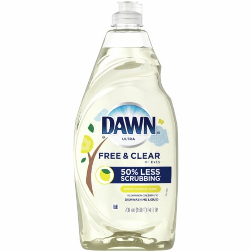 Dawn Ultra Free & Clear Lemon Essence Scent Dishwashing Liquid Perspective: front