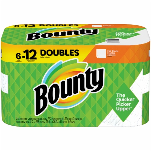 Bounty Doubles White Paper Towels Perspective: front