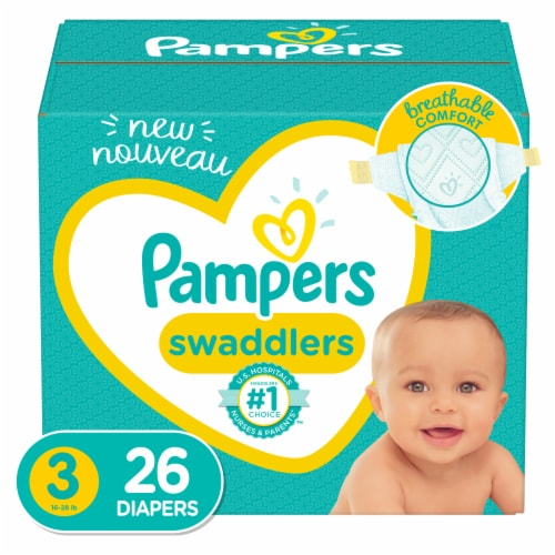 Pampers Swaddlers Size 3 Diapers Jumbo Pack Perspective: front