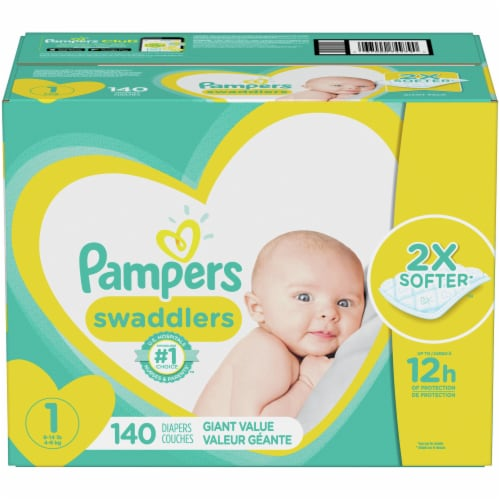 Pampers Swaddlers Size 1 Newborn Diapers Perspective: front