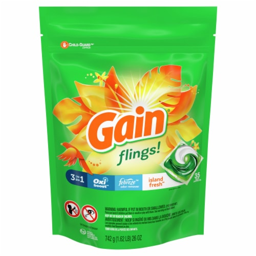 Gain flings! + Aroma Boost Island Fresh Detergent Pacs Perspective: front