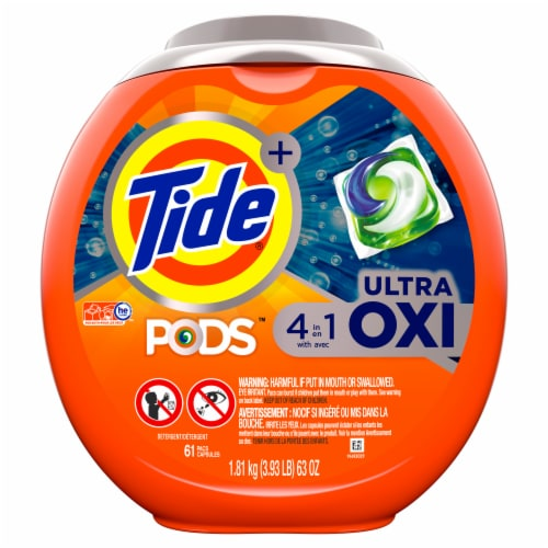 Tide PODS Ultra Oxi Liquid Laundry Detergent Pacs Perspective: front