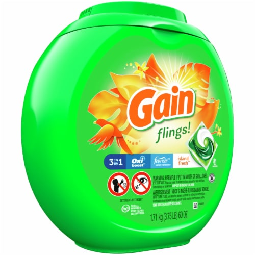 Gain Flings +AromaBoost 3 in 1 Island Fresh Laundry Detergent Pacs Perspective: front