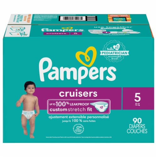 Pampers Cruisers Stay-Put Size 5 Diapers Perspective: front
