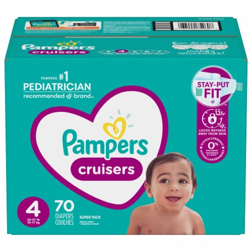 Pampers Cruisers Stay-Put Size 4 Diapers Perspective: front