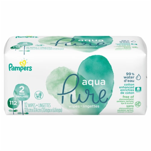 Pampers Aqua Pure Wipes Soft Pack Perspective: front