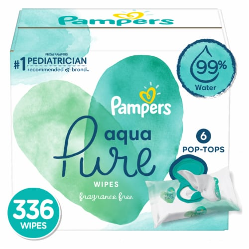 Pampers Aqua Pure Wipes 336 Count Perspective: front