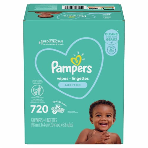 Pampers Complete Clean Baby Fresh Wipes Pop-Top Packs Perspective: front