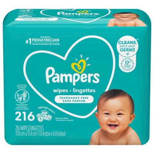 Pampers Complete Clean Fragrance Free Baby Wipes Pop-Top Packs Perspective: front