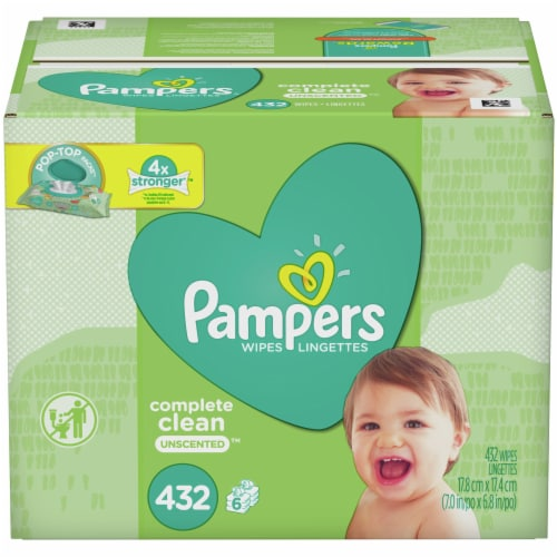 Pampers Complete Clean Unscented Baby Wipes Perspective: front