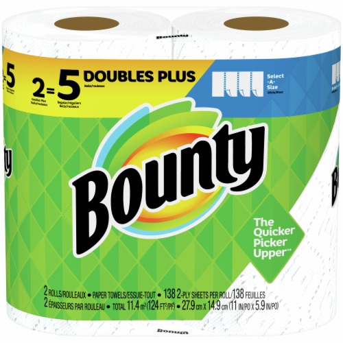 Bounty Select-A-Size Double Plus Rolls Paper Towels Perspective: front