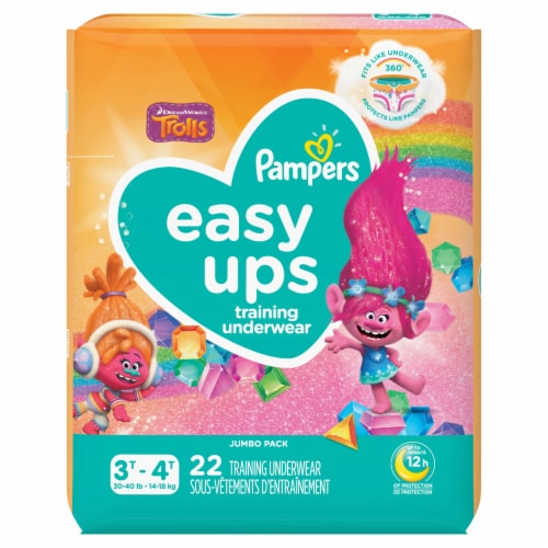 Pampers Easy Ups Trolls 3T-4T Training Underwear Perspective: front