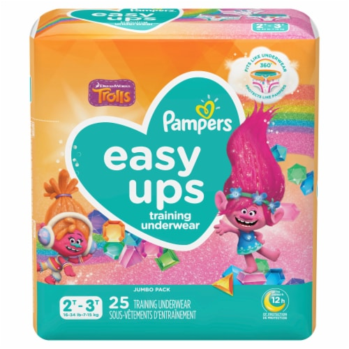 Pampers Easy Ups Hello Kitty Size 4 2T-3T Training Underwear 25 Count Perspective: front