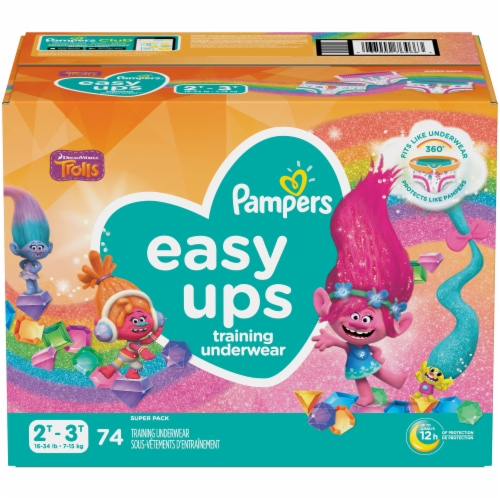 Pampers Easy Ups Girls Size 2T-3T Training Pants Perspective: front