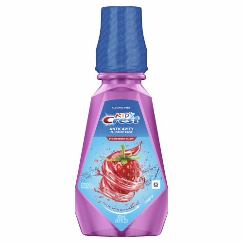 Crest Kids Anticavity Alcohol Free Fluoride Rinse Strawberry Rush Perspective: front