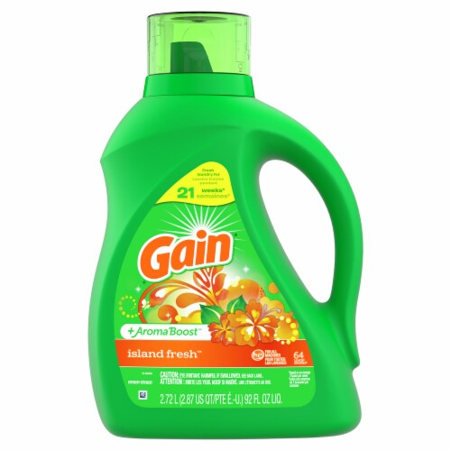 Gain + Aroma Boost Island Fresh Liquid Laundry Detergent Perspective: front