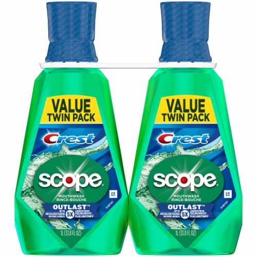 Scope Outlast Long Lasting Mint Mouthwash 2 Count Perspective: front