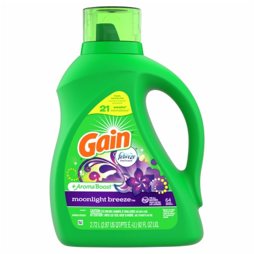 Gain 2X High Suds Moonlight Breeze with Febreze Liquid Laundry Detergent Perspective: front