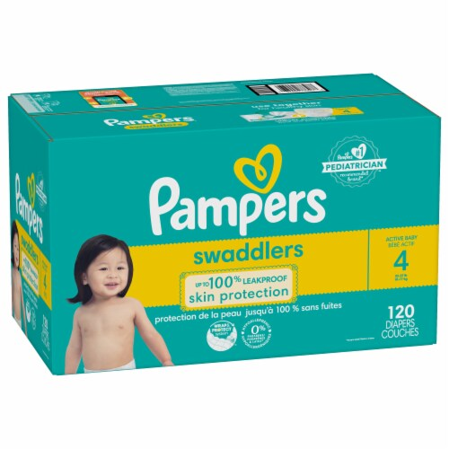 Pampers Swaddlers Active Baby Size 4 Diapers Perspective: front